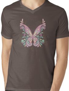 Colorful Ornately Designed Butterfly Graphic with flourishes Mens V-Neck T-Shirt