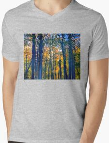 Nature's Ripples - Thoughtful Reflection in Fall Season Mens V-Neck T-Shirt