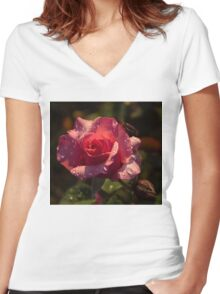 Inner Glow In Pink Women's Fitted V-Neck T-Shirt