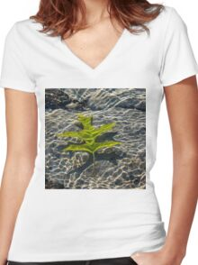 Submerged Beauty - Rainbow Ripples and a Jade Green Oak Leaf Women's Fitted V-Neck T-Shirt