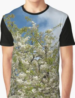 White Tree Blossoms against Blue Sky Graphic T-Shirt