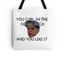 Curl in the squat rack Tote Bag