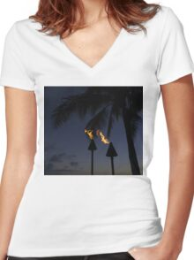 Just After Sunset, the Beach Party is Starting... Women's Fitted V-Neck T-Shirt