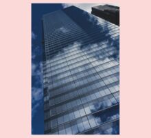 Reflected Sky - Skyscraper Geometry With Clouds - Left Kids Tee