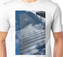 Reflected Sky - Skyscraper Geometry With Clouds - Left Unisex T-Shirt