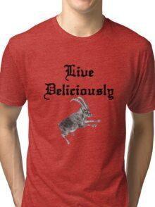 BLACK PHILLIP SAYS LIVE DELICIOUSLY Tri-blend T-Shirt