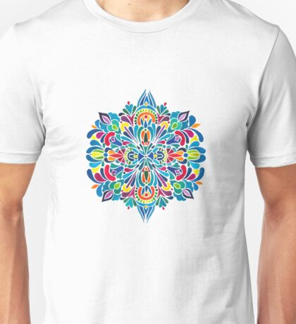 Caribbean inspired  watercolor mandala pattern -BLACK Unisex T-Shirt
