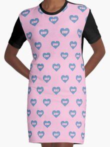 ZEF Blue/Pink Design Graphic T-Shirt Dress
