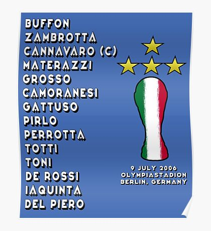 Italy 2006 World Cup Final Winners Poster