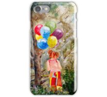 Red Headed Girl with Balloons iPhone Case/Skin