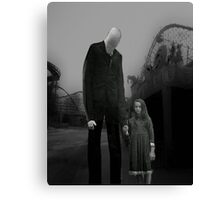 Slender Man with little girl Canvas Print