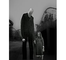 Slender Man with little girl Photographic Print