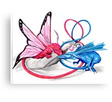 Pink and Blue dragons- Romeo and Juliette Canvas Print