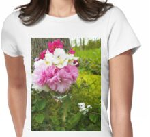 Kitty cat &  bouquet  Womens Fitted T-Shirt