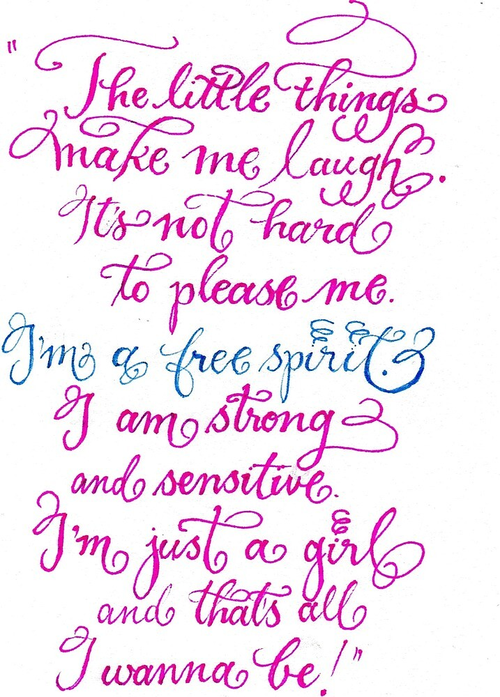 Just a girl handwritten quote by Melissa Goza