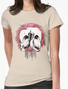 Double Cow Skull Womens Fitted T-Shirt