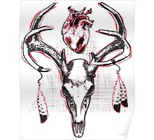 Heavy Heart Deer Antlers Poster