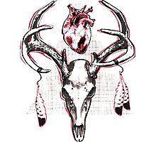 Heavy Heart Deer Antlers Photographic Print