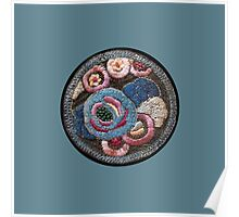 Vintage Embroidery Patch on Blue Poster