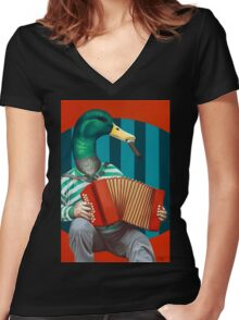Accordion To This Women's Fitted V-Neck T-Shirt