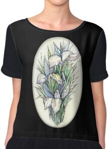 Beautiful iris - Hand draw  ink and pen, Watercolor, on textured paper Chiffon Top