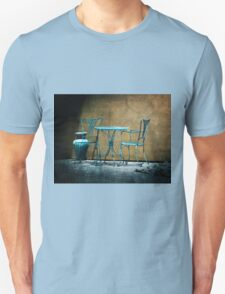 Table & Chairs in Blue Unisex T-Shirt