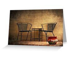 Table and Chairs in Black Greeting Card