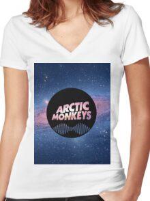 Arctic Monkeys Galaxy Nebula Women's Fitted V-Neck T-Shirt