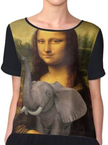 Mona Lisa With Elephant Chiffon Top