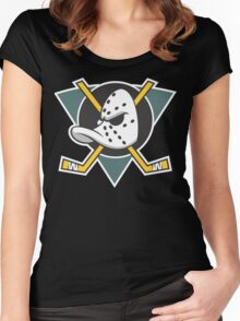 Mighty Ducks of Anaheim Movie NHL Hockey League  Women's Fitted Scoop T-Shirt