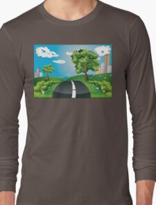 Green Field and City Long Sleeve T-Shirt
