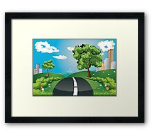 Green Field and City Framed Print