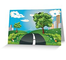 Green Field and City Greeting Card