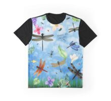 There Be Dragons - Dragonfly Art Graphic T-Shirt