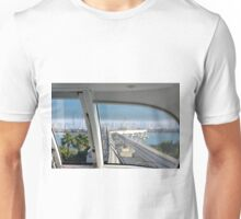 Photography of skyline from Dubai seen from the interior of the metro from palm island, United Arab Emirates. Unisex T-Shirt