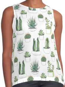 watercolour cacti and succulents Contrast Tank
