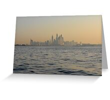 13 March 2016. Photography of skyscrapers skyline from the water at dawn from Dubai, United Arab Emirates. Greeting Card
