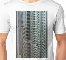 13 March 2016. Photography of pattern created from the facade with windows and balconies from skyscrapers from Dubai, United Arab Emirates. Unisex T-Shirt