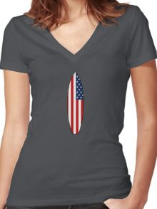 Surfboard (American Flag) Women's Fitted V-Neck T-Shirt
