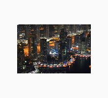13 March 2016. Photography of tall buildings in Marina Bay at night from Dubai, United Arab Emirates. Unisex T-Shirt