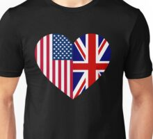America Great Britain Flag Heart Unisex T-Shirt