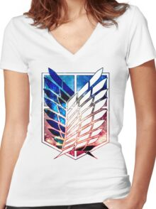 scout legion Attack on Titan galaxy shingeki no kyojin anime Women's Fitted V-Neck T-Shirt