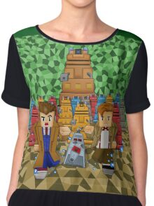 8bit Time traveller vs Robot Droid Dalek Chiffon Top
