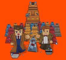 8bit Time traveller vs Robot Droid Dalek Kids Tee