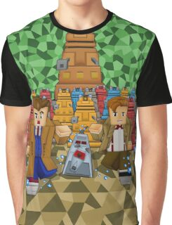 8bit Time traveller vs Robot Droid Dalek Graphic T-Shirt