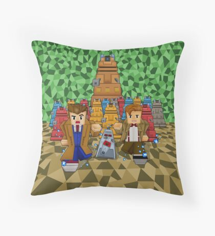 8bit Time traveller vs Robot Droid Dalek Throw Pillow