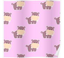Pattern with a cute hippo Poster