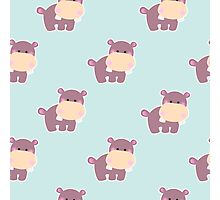Pattern with a cute baby hippo Photographic Print