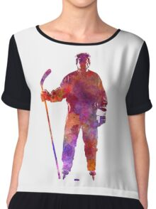 Hockey man player 01 in watercolor Chiffon Top