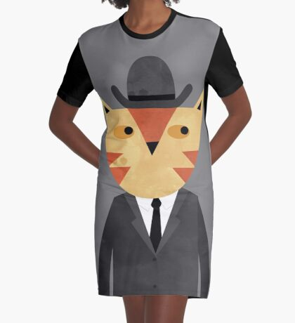 Ginger Cat in a Bowler Hat Graphic T-Shirt Dress